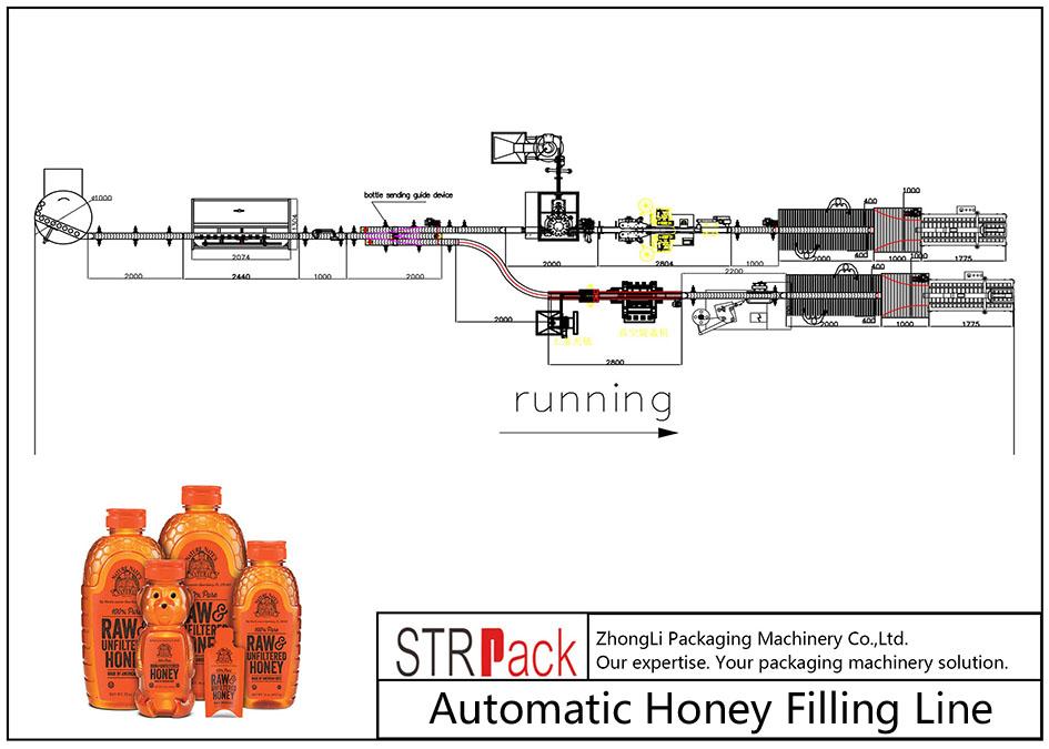 สายการบรรจุน้ำผึ้งอัตโนมัติ